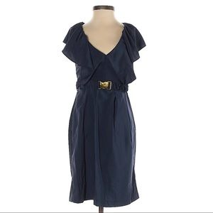 H&M Navy Belted Ruffle Front Cocktail Dress Gold